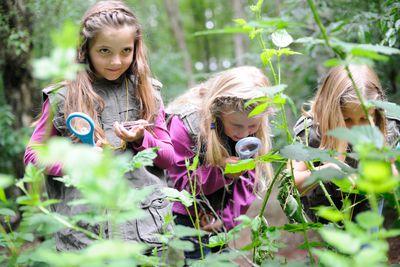 Mädchen mit Naturpark-Entdecker-Westen bei Exkursion im Naturpark Bourtanger Moor