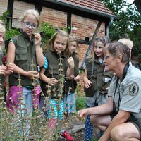Rangerin erklärt Kindern Natur