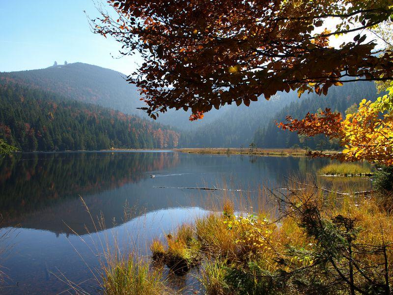 Der Abersee liegt vor Bergen des Bayerischen Waldes. Das Laub ist rötlich gefärbt.