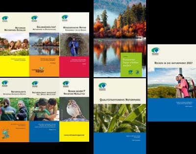 Eine Auswahl der Publikationen des VDN. Zu sehen sind beispielsweise die Reisebroschüre, der Kriterienkatalog der Qualitätsoffensive sowie verschiedene Flyer