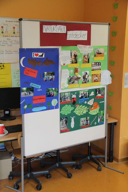 Auf selbstgefertigten Plakaten halten die Schüler ihre Eindrücke und Erlebnisse des Ausfluges fest